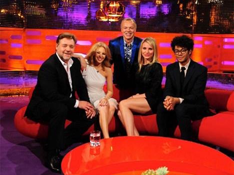 Kylie Minogue, Russell Crowe, Cameron Diaz y Richard Ayoade