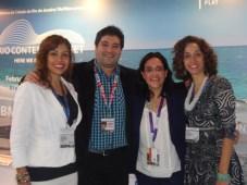 Deborah de Oliveira Rossoni, de ApexBrasil; Germán Calvi, gerente de Fomento para TV, videojuegos e internet del INCAA; Paola Suarez, de FDI; y Rachel