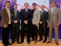 Roberto Messuti, VP Dramático TVES; Juan Antonio Fernández, representante de World Media Pictures; Carlos CoelloBeseke, gerente de TC Mi Canal; Miguel