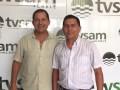 Javier Ríos con Manuel Aguilar Zamora, propietario de TVSAM de Perú