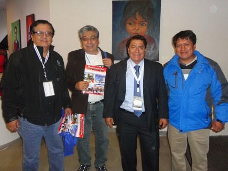 Víctor Mas, gerente general de Advanced Networks, Luis Suárez Rocco, gerente de operaciones de CablePerú, Ovidio Rueda y Orlando Rojas Quispe, gerente general de Calbe Laser