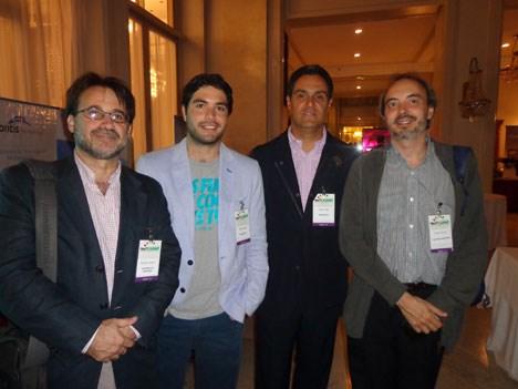 Gustavo Castro, de OnVideo (Telefónica); Rafael López Poblete y Carlos Alberto Paba, ambos de Smartbox TV, y Walter de Leo, de Telefónica