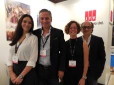 Can Okan, CEO, Ahmet Ziyalar, managing director, Beatriz Cea, sales director, Leyla Apa, ejecutiva de ventas, en el último NATPE Europe