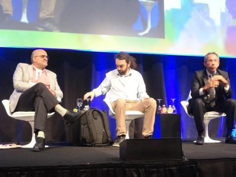 Pola Ribeiro, representante del Ministerio de Cultura de Brasil; Rangel, presidente de Ancine, y Alfredo Manevy, de SPCine