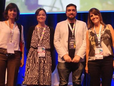 Stefania Borgess, de 44Toons; Daniela Vieira, de Cartoon Network Brasil; Zé Brandao, de Copa Estúdio; y Célia Catunda, de TV Pinguim
