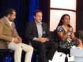 Panel de apertura: Sergio Rivaroll, director de ProMéxico Quintana Roo, con Ted Baracos, director de MIPCancun, y Raquel Catherine Dueñas, de la organización de MIPCancun