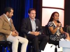 Panel de apertura: Sergio Rivaroll, director de ProMéxico Quintana Roo, con Ted Baracos, director de MIPCancun, y Raquel Catherine Dueñas, de la organ