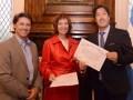 Horacio Mansilla, Director de Marketing Operativo de Cliente Producto Fijo en Telefónica Argentina; Liliana Mazure y Pablo Aristizabal