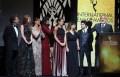 Actores y directores de Empire durante los International Emmy Awards: Paulo Betti, Marina Ruy Barbosa, Josie Pessoa, Leandra Leal, Maria Ribeiro, Caio Blat y Rogério Gomes