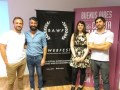 Manuel Castiñeyras, Martín Froilán Lapissonde y Pedro Levati, de Macaco Films, y Daniela Martínez Nannini, de Mil Grullas