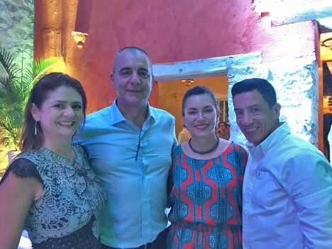 Natalia Retegui y Roque Lombardo de DirecTV Colombia, Sofía Higuera y Juan Carlos Pita, de Fox