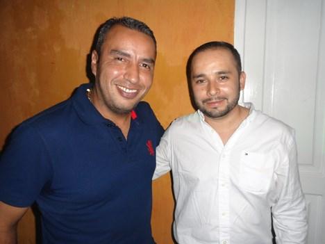 """César Lobedo García de DSC, y Fernando Vargas de América TV, en el after show de """"Casa Fox"""""""