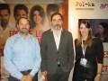 Manuel Martí, director de Desarrollo y Producción Internacional de Pol-ka, con Alex Lagomarsino, CEO de Mediabiz, y Luciana Egurrola, ventas internacionales de Pol-ka