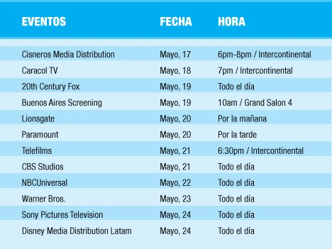 Agenda de eventos de LA Screenings 2016