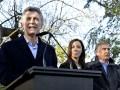 Mauricio Macri, la gobernadora de Buenos Aires María Eugenia Vidal, y el ministro de Comunicaciones, Oscar Aguad, en la presentación del plan Federal