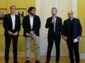 Marcos Peña, jefe de Gabinete; Pablo Avelluto, ministro de Cultura; Mauricio Macri, presidente, y Hernán Lombardi, ministro de Medios Públicos