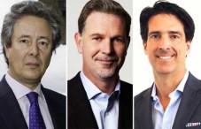 Gonzalo Córdoba, presidente de Caracol; Reed Hasting, CEO, Netflix, y Mauricio Ramos, CEO, Millicom