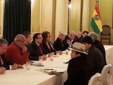 Evo Morales, presidente de Bolivia, reunido con representantes de los medios de comunicación (Foto: La Razón)