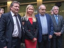 Víctor Koronelli, embajador de Rusia en Buenos Aires, Victoria Vorontsova, RT en Español; Hernán Lombardi, titular del SFCyMP, y Federico Pinedo, pres