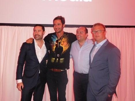 Juan Vallejo, SVP de Commercial Partnerships; Jason Silva, presentador de Origins, Carlos Martinez, presidente de de FNG para America; y Fernando Seme