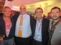 Alex Marin durante la presentación de The Halcyon en Mipcom, junto a Francisco Ortiz, VP programming, Televisa; Pedro Lascurain, content acquisitions,