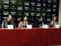 Petronio Gontijo, Gisele Itie, Guilherme Winter y Camila Rodrigues, protagonistas de Los 10 Mandamientos, esta mañana en conferencia de prensa