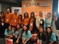 Los alumnos del Enerc, ganadores del concurso de cortos de Caper 2016, con la gerente general de la cámara, Pilar Orge Sánchez
