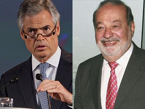 Joaquín Vargas Guajardo, presidente de MVS, y Carlos Slim, propietario de América Móvil, controlante de Telcel