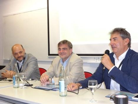 Juan Aramburu, gerente de producción de contenidos del Incaa; Alejandro Cacetta, presidente; y Ralph Haiek, vicepresidente, en su presentación de Ventana Sur 2016