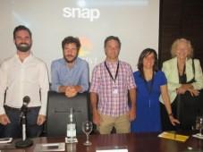 Ezequiel Olzanski, SnapTV/MarVista, y Antoine Torres, YouTube Kids, junto a Federico Badía, Marilina Sánchez y Rosana Manfredi, todos de CAMIAT