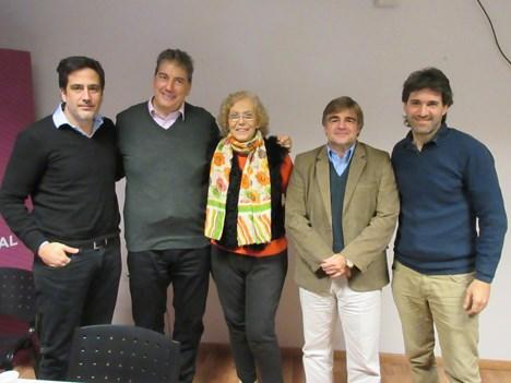 Alejandro Cacetta, presidente, y Ralph Haiek, VP, del INCCA, en el lanzamiento en junio de 2016 de la Cámara Industrial Animación Tecnología Argentina (CAMIAT) con Rosanna Manfredi, Alberto Stagnaro y Gonzalo Azpiri