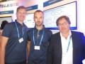 Mika Kavanti, Julius Tikkanen y Gary Esnal, de Teleste, en la última IBC