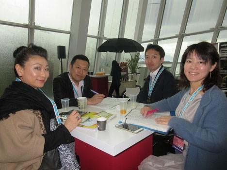 Buyers from Kansai TV 8 (Japan): Noriko Katayanagi-Bonafede, funding board member; Takuya Kanatani, deputy content manager; Takaaki Satou, senior cont
