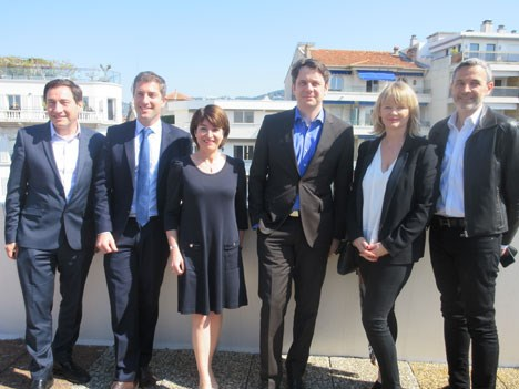 The 'Wrap up press conference': Laurine Giraud, director, TV Division, and Ted Baracos, market director, with the Reed Midem team. MIPTV will be devel