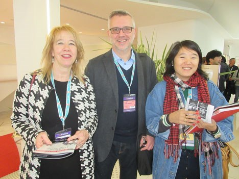 Mignon Huisman, head of series acquisitions, NPO (The Netherlands); Sven Van Lokeren, programme acquisitions, VRT (Belgium), and Sylvie Jason, head of