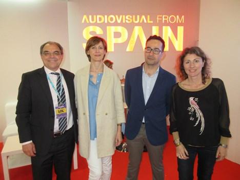 Rodolfo Domínguez, director comercial de Radiotelevisión Española, Dolores Meijomín Rodríguez, coordinadora de políticas audiovisuales de Agadic, Javi