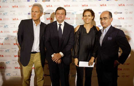 Francesco Rutelli, president Anica; Carlo Calenda, ministro económico; Lucia Milazzotto, directora editorial, y Giancarlo Leone, presidente APT