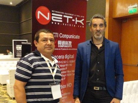 Benjamín Jave, de TV Cable Quiindy, y Mauro García de Net-K