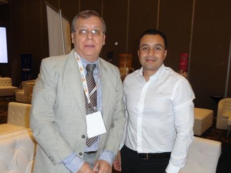 Ignacio Viveros, presidente de la Cámara de Cableoperadores de Paraguay, y Julio César Gómez de DHE