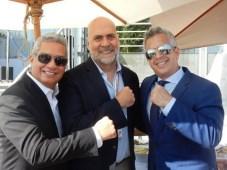 Leonardo Aranguibel y Fernando Barbosa, de Disney, con Angel Zambrano, de Turner