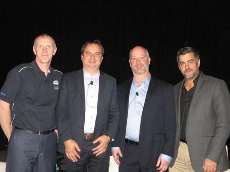 Andrew Baxter de NBN, Cornel Ciocirlan de Arris, Chris Bastian de la SCTE, y Vincencio Maya de Millicom