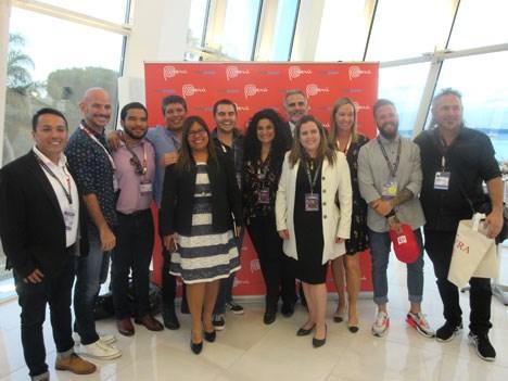 La delegación peruana en pleno durante su cóctel lanzamiento con Mariella Soldi, de PromPerú y los productores participantes de MIPCOM