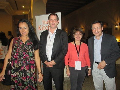Reed Midem durante la fiesta de pre-apertura de MIPCancun 2016, organizada por The Kitchen: Raquel Dueñas, Paul Nickeas, Laurine Geraude y Ted Baracos