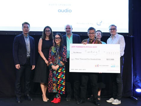 Spruce Leong, Mediacorp; Amreet Chahal, all3media International; Stephen Lambert, Studio Lambert; Gamaliel Paulus (Gammy), Winner of ATF Formats Pitch