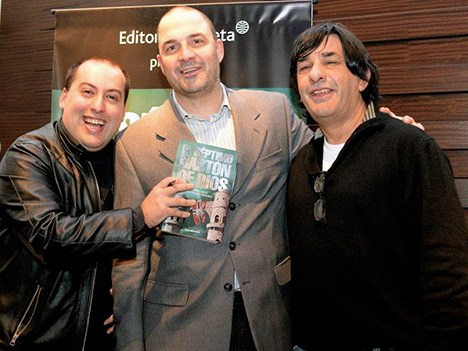 Ramiro San Honorio y Jorge Nisco (extremos) con Alex Lagomarsino, de Mediabiz
