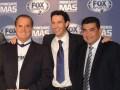 El conductor Raúl Orvañanos, Lorenzo Orozco, VP y director general de FIC México, y Fausto Ceballos, VP de programación y producción, durante la prese