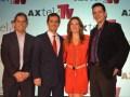 Antonio De Nigris, Tomás Milmo, la presentadora Dominika Paleta y Jenaro Martínez, director de Axtel TV
