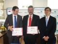erome Delhaye, director de la División de Entretenimiento de Reed, Francisco González Díaz, CEO de Proméxico y Agustín García López, embajador de Méxi